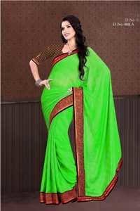 Embroidery Saree Green Color 803-A