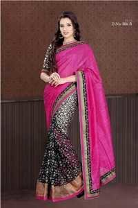 Pink With Black Color Saree 804-B