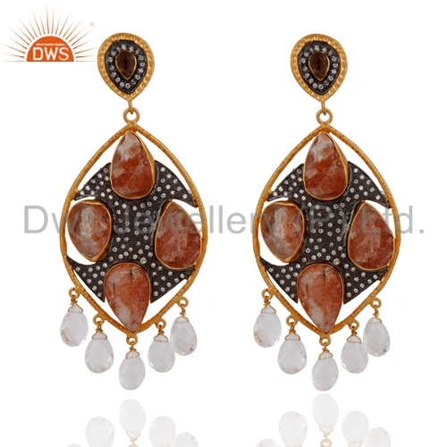 Designer CZ Gemstone Earrings Jewelry