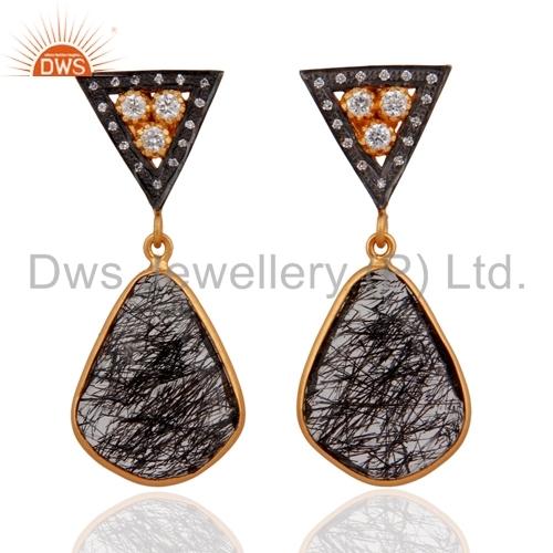 Handmade Tourmalinated Quartz Earrings