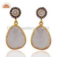 CZ Crystal Quartz Gemstone Silver Earring