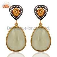 Lemon Topaz Gold Plated Silver Earrings
