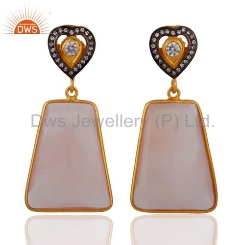 Sterling Silver Rose Chalcedony Earrings