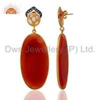 CZ Red Onyx Gemstone Earrings Jewelry For Womens