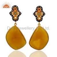 Semi-Precious Gemstone Gold Vermeil Earrings