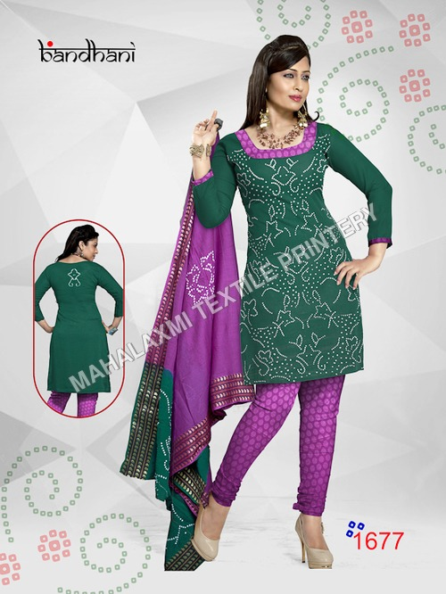 Silk Bandhani Dress Materials