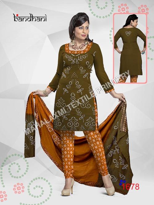Cotton Bandhani Suit Materials
