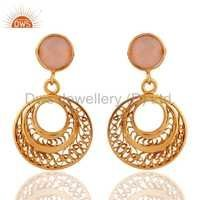 925 Silver Gold Plated Rose Chalcedony Earrings