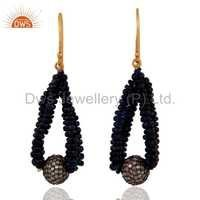 Solid 18k Yellow Gold Blue Sapphire Earrings