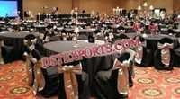 BLACK AND SILVER WEDDING CHAIR COVERS AND SASHES