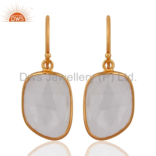 Gold Vermeil Bezel- Set Gemstone Earrings