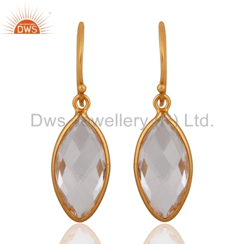 Gold Vermeil Silver Crystal Quartz Earrings