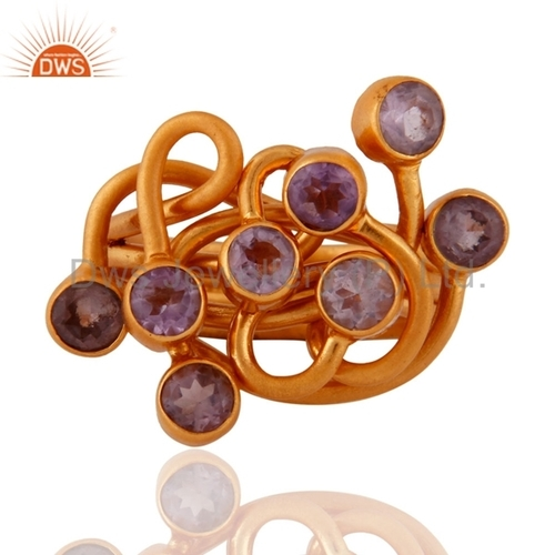 Designer Gold Plated Gemstone Ring Jewelry