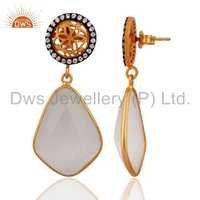 Gold Plated 925 Silver White Moonstone Earrings