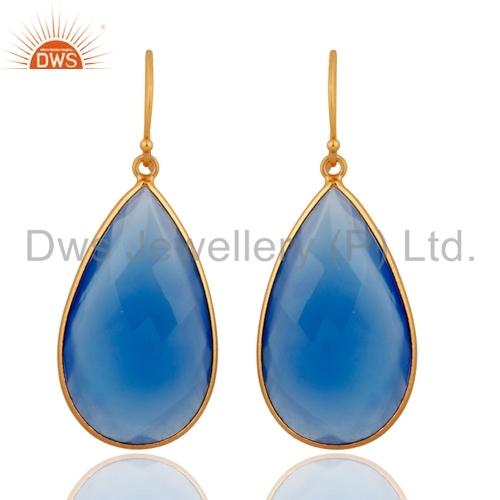 Blue Chalcedony Sterling Silver Earrings