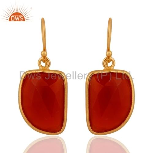 Red Onyx Gold Vermeil Sterling Silver Earrings