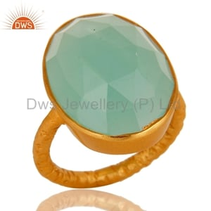 Silver Gold Plated Chalcedony Ring Jewelry