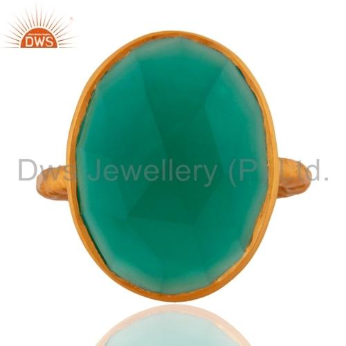 Designer Gold Plated Silver Gemstone Ring