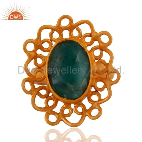 Designer Gold Plated Gemstone Girls Ring