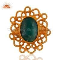 Designer Gold Plated Gemstone Girls Ring