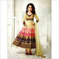 KANGANA RANAUT CREAM FAWN PURE GEORGETTE ANARKALI SUIT