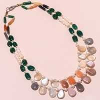 16INCH NATURAL GEMSTONE BEADED NECKLACE READY TO WEAR # BN753