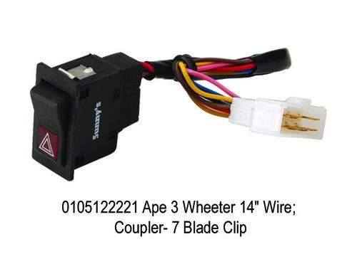Ape 3 Wheeler 8 Wire; 8 way Rectangul