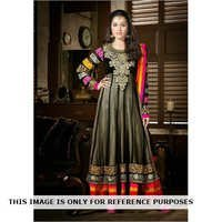 Net Black Anarkali Semi Stitched Embroidered Dress
