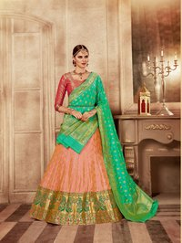Exclusiva Wedding wear Banarasi Silk Leheneges