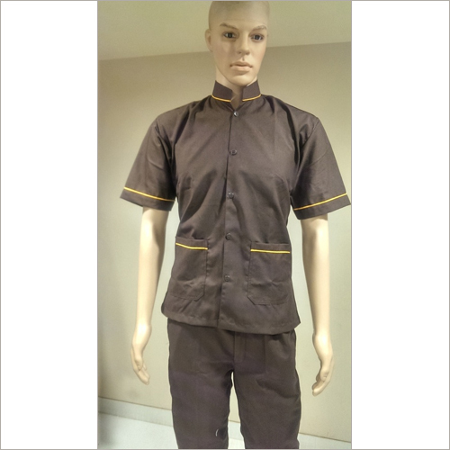 Brown With Yellow Piping Steward Uniform