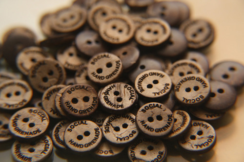 Coconut Shell Buttons with Brand Name
