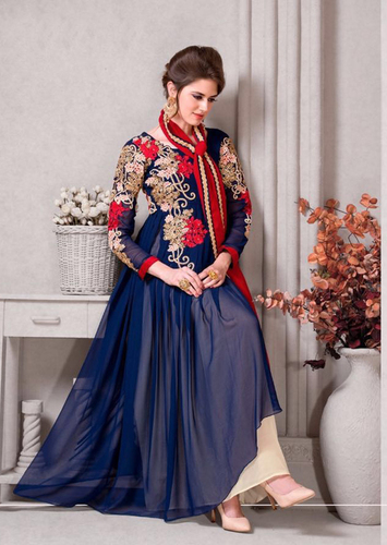 Blue Pure Georgette Embroidered salwar suit
