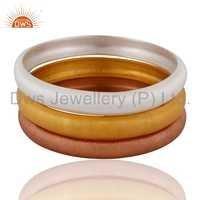 Gold Plated Sterling Silver Bangle Bracelets