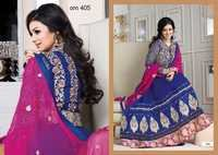 Ayesha Takia In Blue Designer Long Anarkali Suits