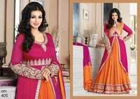 Ayesha Takia In Orange Jacket Style Designer Long Anarkali Suits