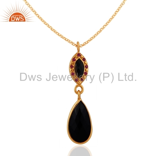 Black Onyx Sterling Silver Pendant - Gold Plated