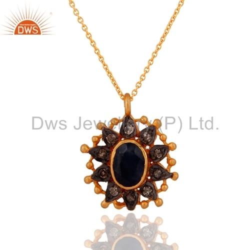 Blue Sapphire Sterling Silver Diamond Pendant