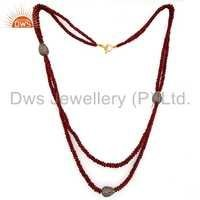 18k Gold Diamond Ruby Beads Necklace