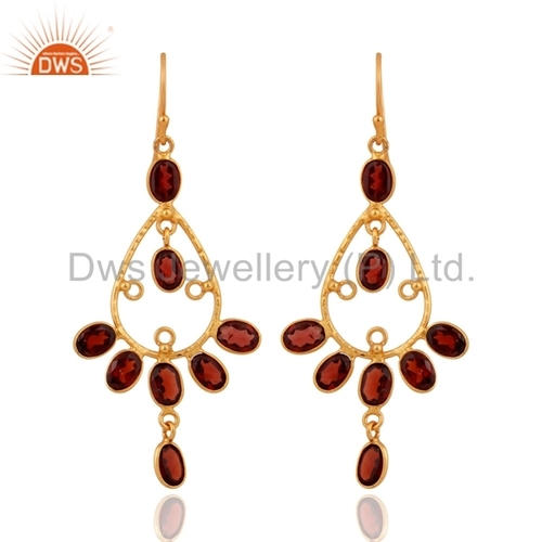 18k Gold Plated Sterling Silver Garnet Earrings