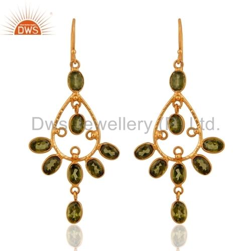 Gold Plated Sterling Silver Peridot Earrings