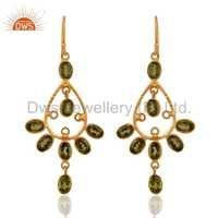 Gold Plated Sterling Silver Peridot Earrings