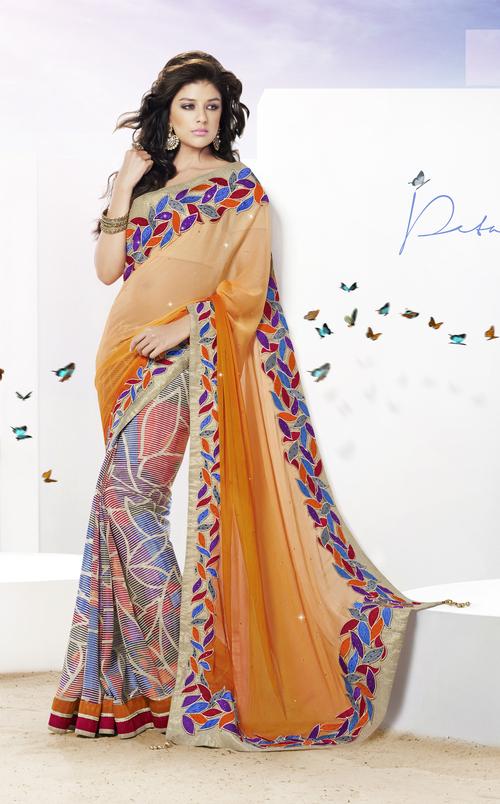 Stunning Orange & Cream Leaf Cutwork Saree