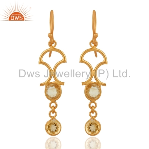 Gold Plated Sterling Silver Citrine Earrings