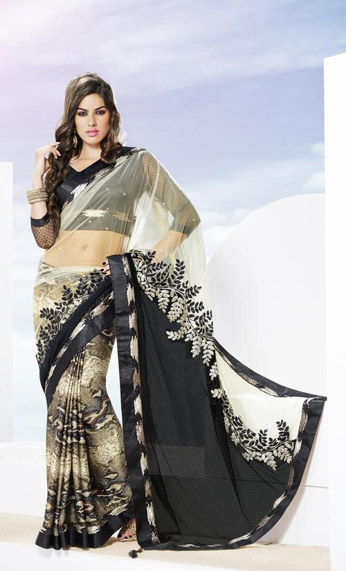 Trendy Snake Printed Designer Partywear Saree