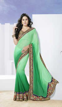 Royal green floral designer saree
