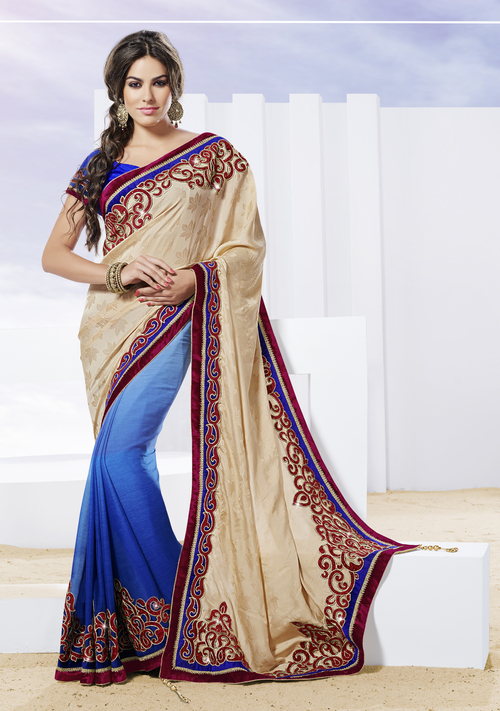 Light beige designer saree with applique work