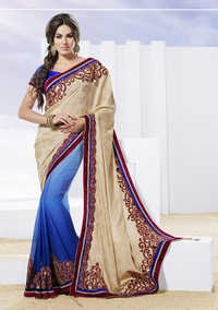 Light beige designer saree with applique work