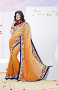 Fabulous Orange shaded Chiffon saree