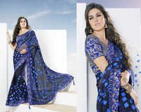 Elegant Navy Blue Foil Printed Astonishing Saree
