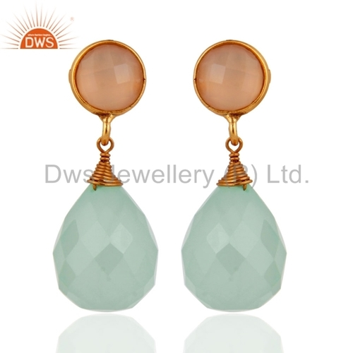 Gold Plated Silver Chalcedony Earrings